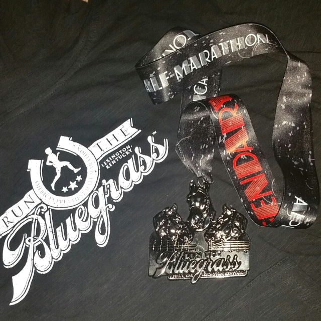 Run the bluegrass hoodie and finishers medal