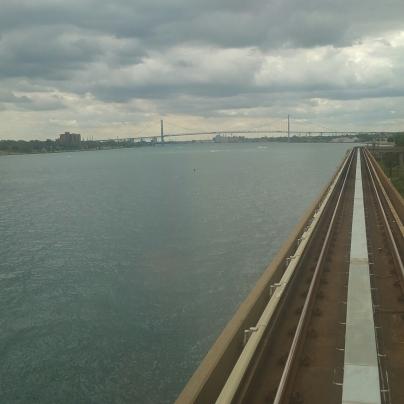 View of Ambassador Bridge to Canada